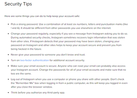 Instagram Security Tips