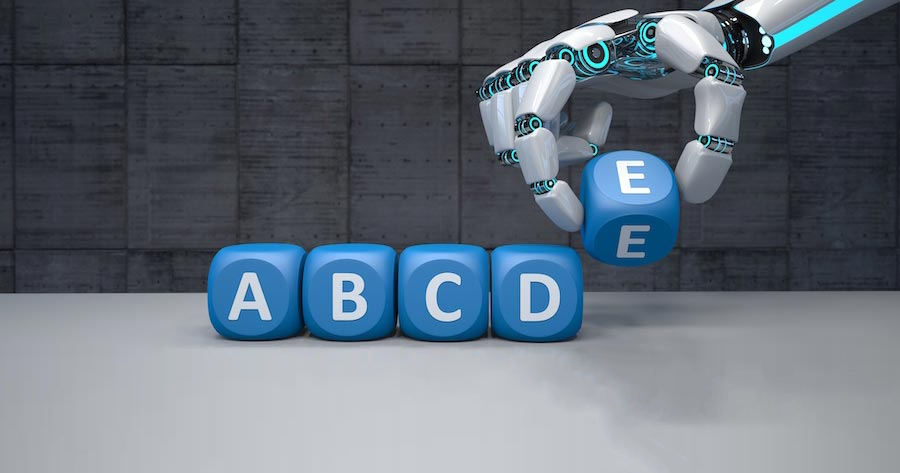 Robot placing alphabet blocks in order A through E