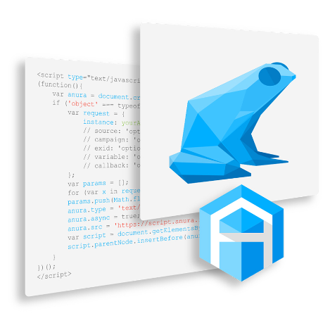 Anura frog and logo layered over Anura Script