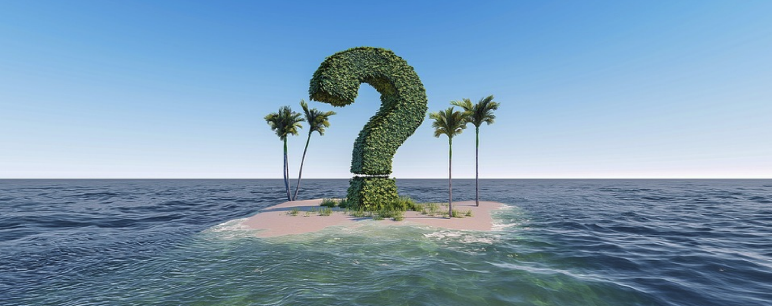 giant question mark hedge on deserted island